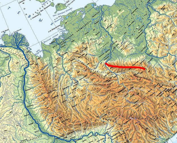 Момский хребет на карте