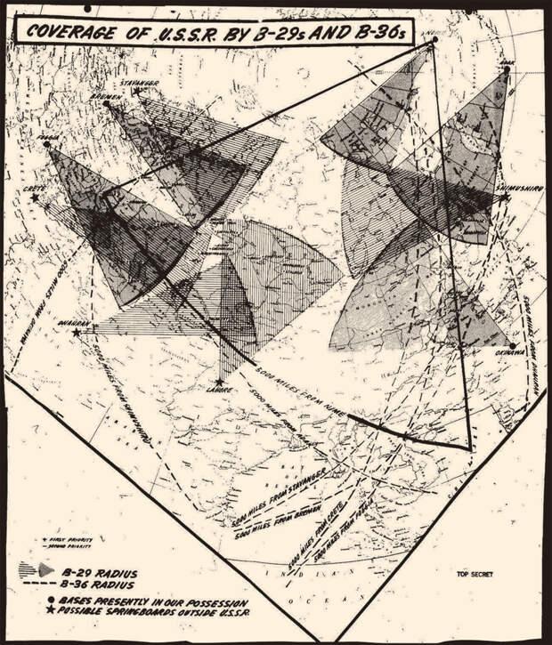 Схема радиусов охвата американскими бомбардировщиками В29 и В36 территории СССР, август 1945 г.