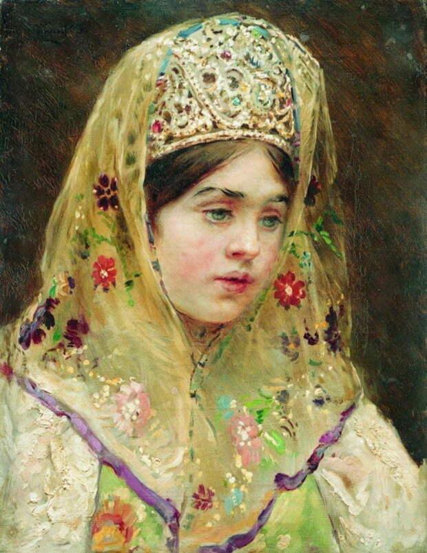 Константин Маковский, Портрет девушки в русском костюме. 1910-е