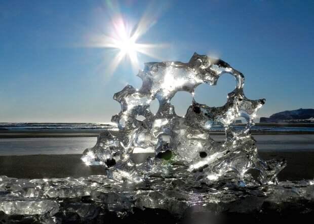 Льдинка, Лед, Океан, Берег, Солнце, Зима, Снег, Мороз