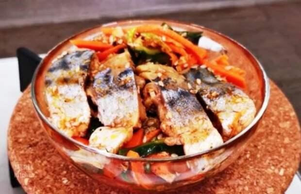 Скумбрия по-корейски», самый простой и любимый рецепт, который я знаю. Рыба получается очень вкусная
