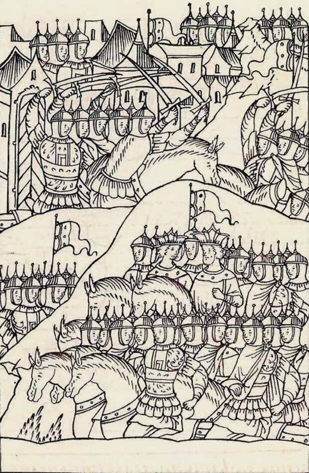 Войско Сахиб-Гирея у Зарайска, 1541 год. Миниатюра из Лицевого свода - Нарвское плавание: «гнев на всю их землю…» | Warspot.ru
