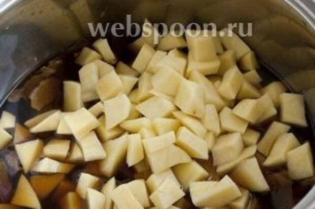 Добавить к отварным грибам очищенный и нарезанный ломтиками картофель.