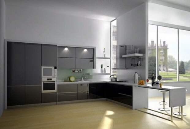 Барная стойка логически продолжает кухонный гарнитур