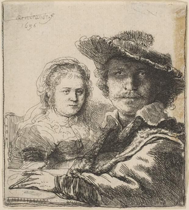 Рембрандт и Саския, набросок. / Фото: museumkijker.nl.