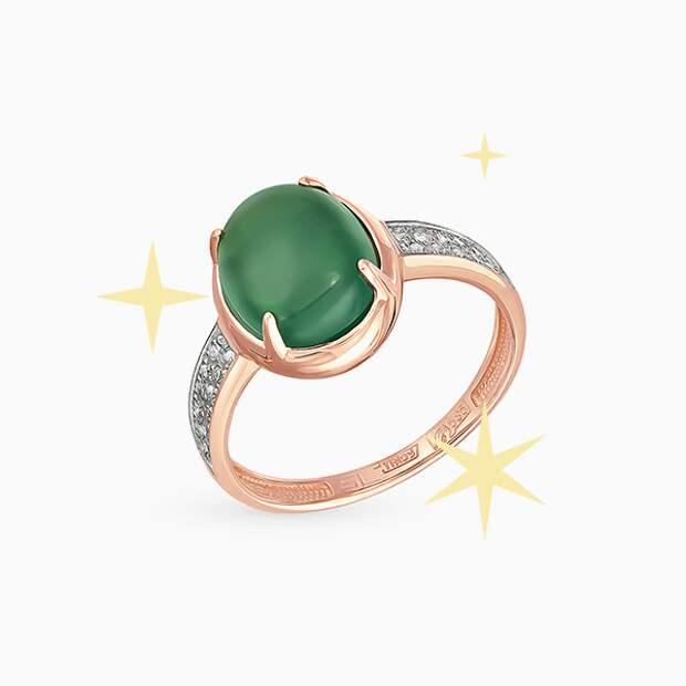 Кольцо SL, розовое золото, оникс, бриллианты