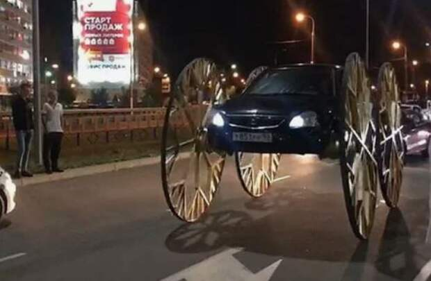 Шутка не прошла: полицейские заставили блогера снять с Приоры колеса от кареты
