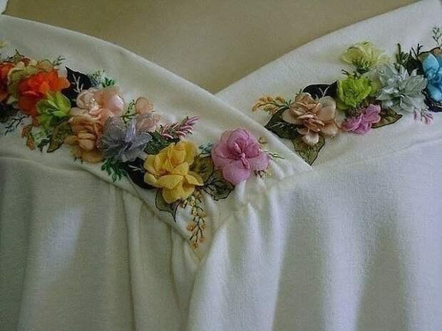 Украшаем майки вышивкой лентами. Идеи.
