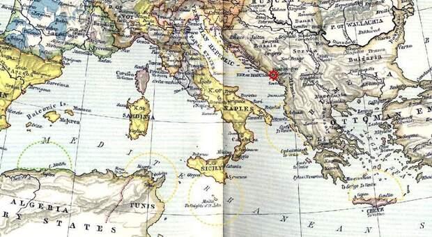 Европа (государственные границы 1560 года) и Средиземное море. Отмечены некоторые военно-морские базы с принадлежностью на 1539 год с отложенным от них радиусом автономного действия типичной галеры; пунктирные дуги жёлтого цвета — Лига, и зелёного — Султанат. Выделен Кастельнуово вместе с Которским заливом - Война Священной лиги в 1539 году: большие надежды | Warspot.ru