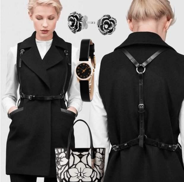 Чёрная портупея, белая блузка, удлинённый жакет, сумочка, часы, серьги