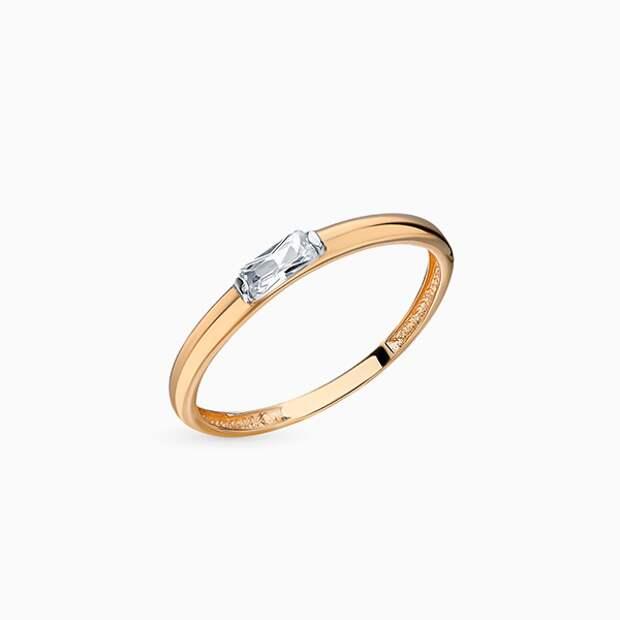 Кольцо «Калина золотая», розовое золото, фианит