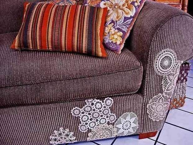 8. Кружевные заплатки для мягкой мебели и одежды Фабрика идей, кружевная салфетка, наши руки не для скуки, поделки и переделки