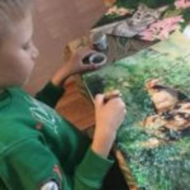Мальчик супергерой, рисует и кормит бездомных животных