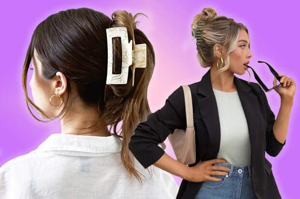Стильные прически с крабиками родом из 1990-х: простые решения для волос любой длины и густоты