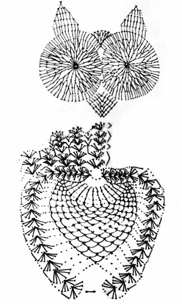 схема для вязания коврика сова для дома