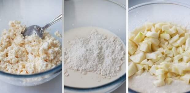 Растереть сахар, яйцо и творог. Добавить 3/4 стакана молока и постепенно ввести муку с разрыхлителем и солью. Тщательно смешать, лучше миксером. Яблоко режем мелкими-мелкими кубиками и добавляем в тесто, осторожно размешиваем. Тесто должно быть густоты очень жирной сметаны. То есть чуть гуще, чем для оладий. Однако если творог был сухой, то консистенция будет уже совсем густой, тогда нужно добавить оставшееся молоко.