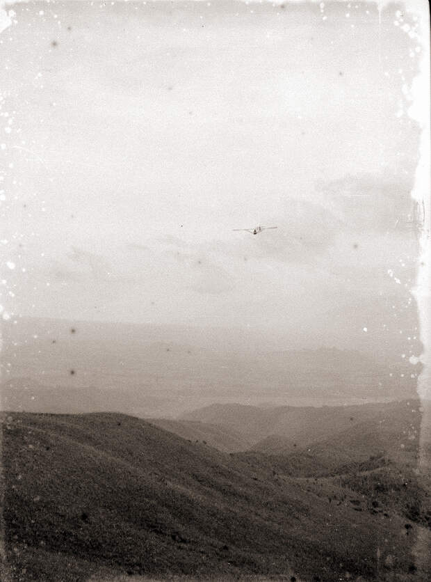 1930s Glider Above Japanese Mountains