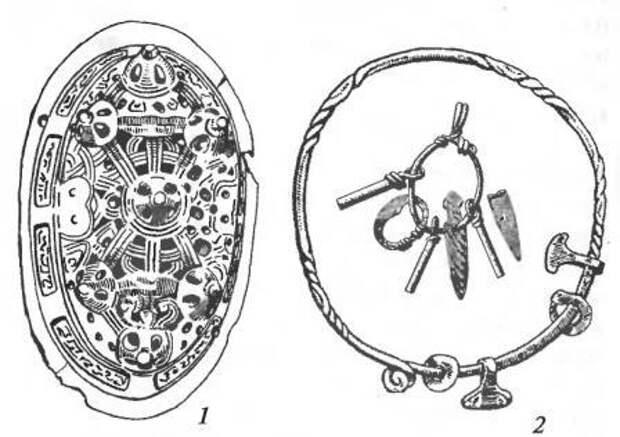 Вещи скандинавского происхождения: 1 — фибула овальная (женская); 2 — шейная железная гривна с подвесками-амулетами и набор амулетов