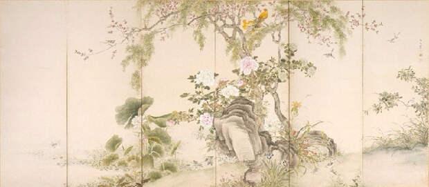 Birds and flowers of the four seasons (637x279, 175Kb)