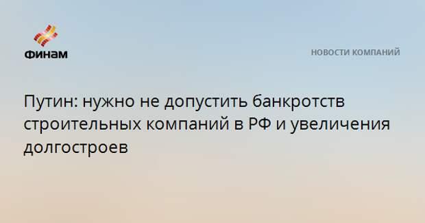 Путин: нужно не допустить банкротств строительных компаний в РФ и увеличения долгостроев