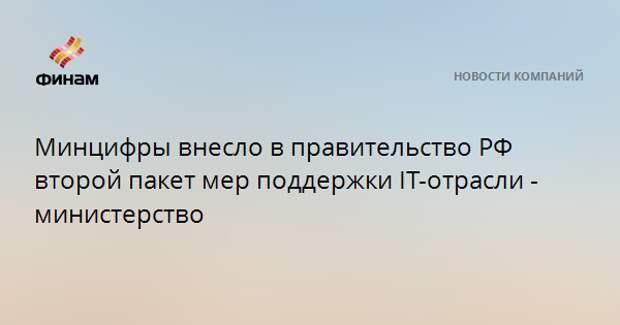 Минцифры внесло в правительство РФ второй пакет мер поддержки IT-отрасли - министерство