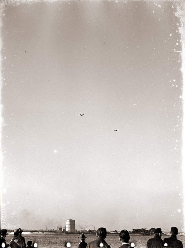 Two Aircraft Flying Overhead, 1930s Japan