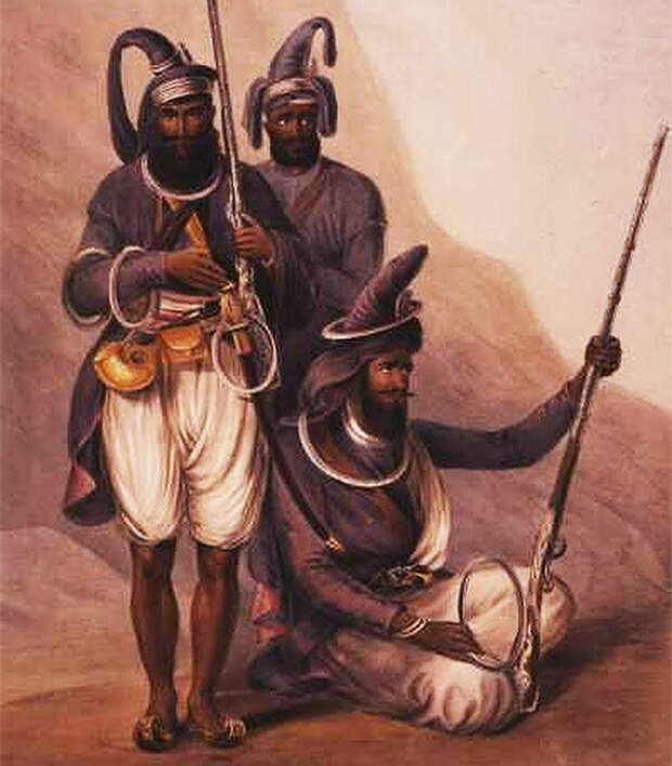 Изображение XIX века. Сикхи, вооруженные чакрами