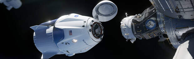 The SpaceX Crew Dragon spacecraft docks to the space station
