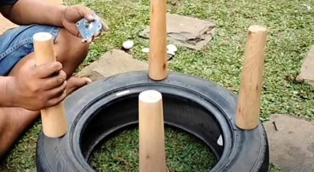 Как сделать табурет из старой автомобильной покрышки