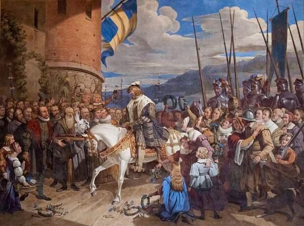 Густав Ваза въезжает в Стокгольм, 1523 год. Художник Йохан Густав Сандберг - Густав Ваза строит флот   Warspot.ru