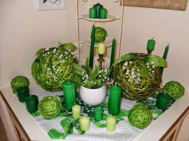 kompozicii zelenogo cveta v inter'ere