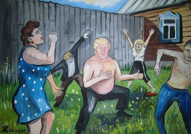 «Трамп наш»: художник изУльяновска представил жизнь Дональда Трампа вроссийской глубинке