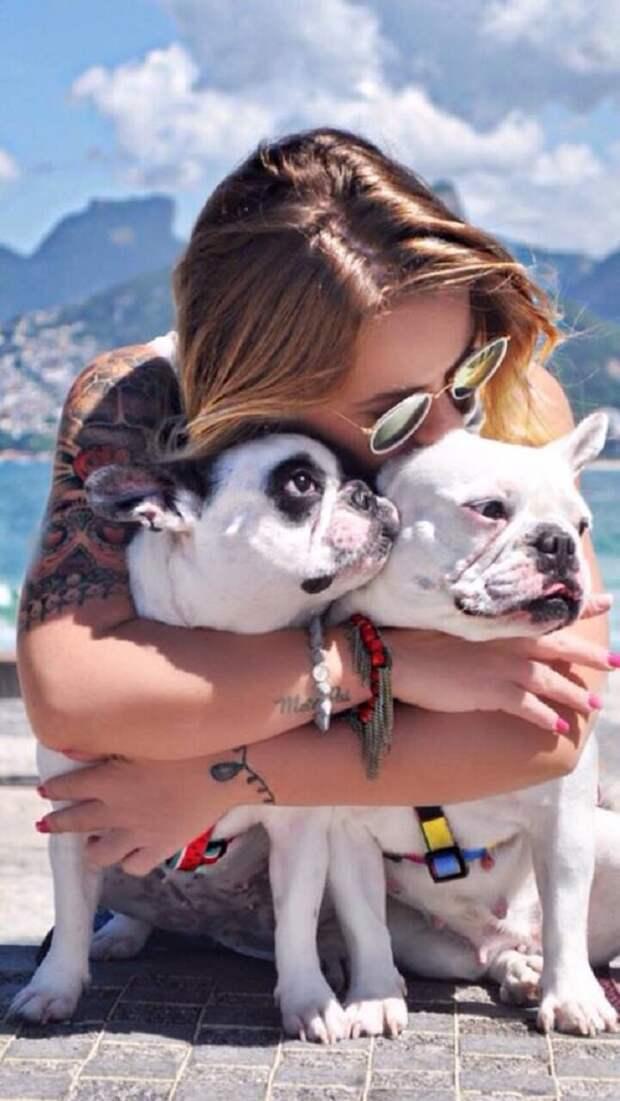 Девушка обнимает собак
