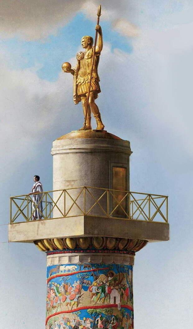 Верхняя часть Колонны со смотровой площадкой у подножия статуи Траяна - Колонна Траяна   Warspot.ru