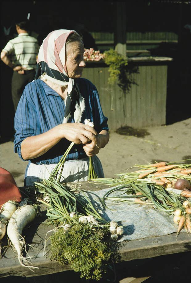 Russia, merchant selling vegetables at market. Siberia
