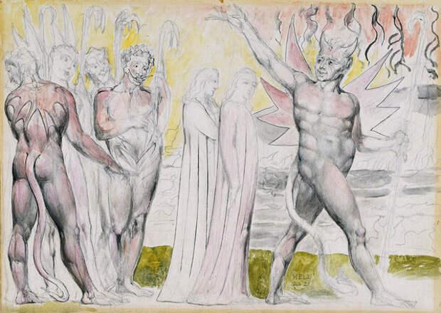 Дьявол с Данте и Вергилием