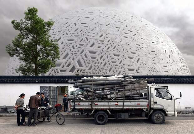Театр в Китае, исполненный в виде традиционной головоломки