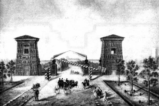 Египетские ворота в Царском Селе, 1835 год. Живопись на фарфоре по оригиналу В.Е.Галямина. Государственный Эрмитаж