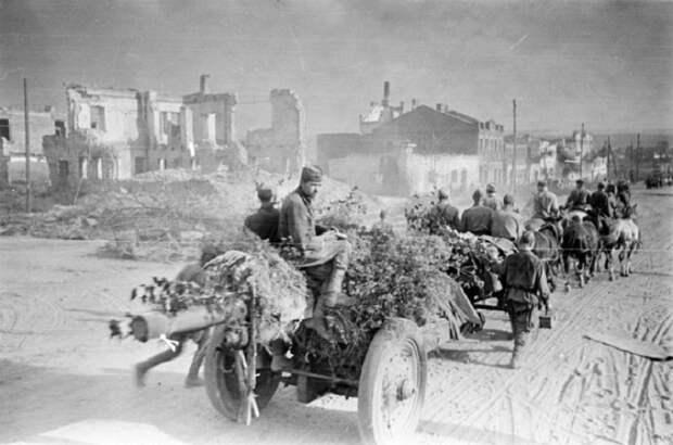 На улицах освобожденного Белгорода, 1943 год.