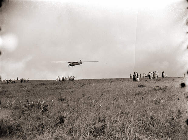 Men Running After Glider in Flight, 1930s Japan