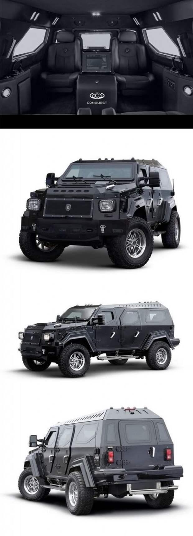 Conquest Knight XV может быть оснащен как бензиновой 6-литровой V-образной восьмеркой, мощностью 325 л.с., так и дизельным Cummins ISB с объемом 6,7 л авто. интересное, автомир, бронемашины, броня, самые-самые, факты