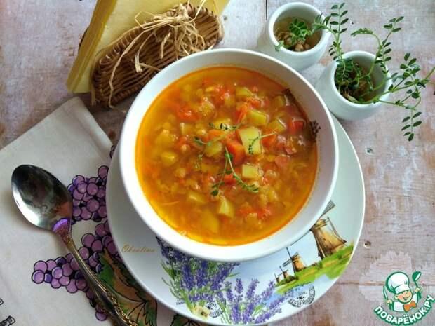 Суп гороховый карри с имбирём