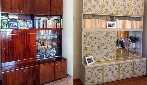 С помощью обычных обоев удалось преобразить старую советскую мебельную стенку. | Фото: buildinexpert.ru.