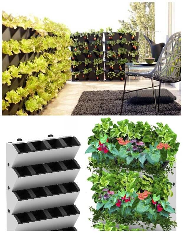 Если есть возможность, то для вертикального выращивания овощей, ягод и пряных трав лучше приобрести специальные контейнеры.