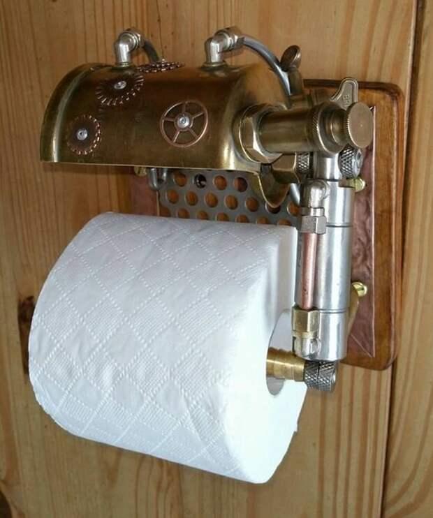 18. Держатель для туалетной бумаги в стиле стимпанк дизайн, идеи, мужские штучки, очумелые ручки, прикольно, своими руками