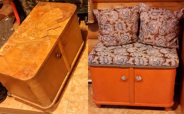 Уютный пуф из советской тумбочки мебель, новая жизнь, переделка, старье