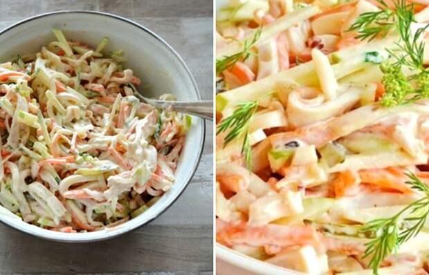 Вкуснейший салат с кальмаром и огурцом