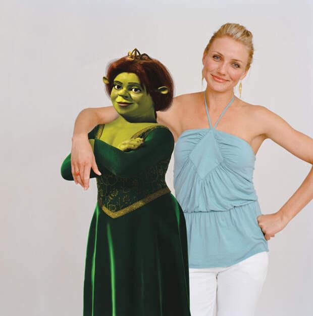 Камерон Диаз (Cameron Diaz) и Антонио Бандерас (Antonio Banderas) в фотосессии для фильма «Шрек 2» (Shrek 2) (2005), фото 1