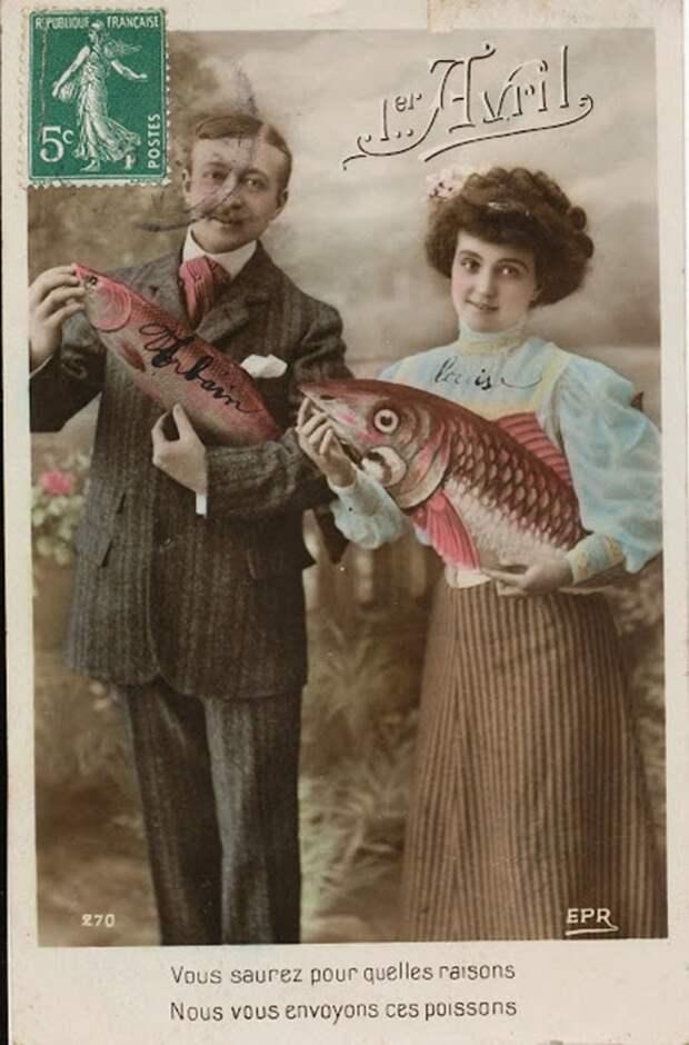 Французские первоапрельские почтовые карточки начала XX века