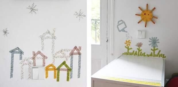 Подборка идей использования цветного канцелярского скотча для декора детской комнаты и мебели в ней